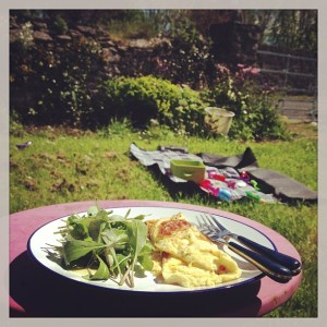Lunch Outside with the first of the salad greens from the garden!