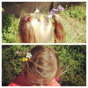 Flowers in their hair picked from the verge